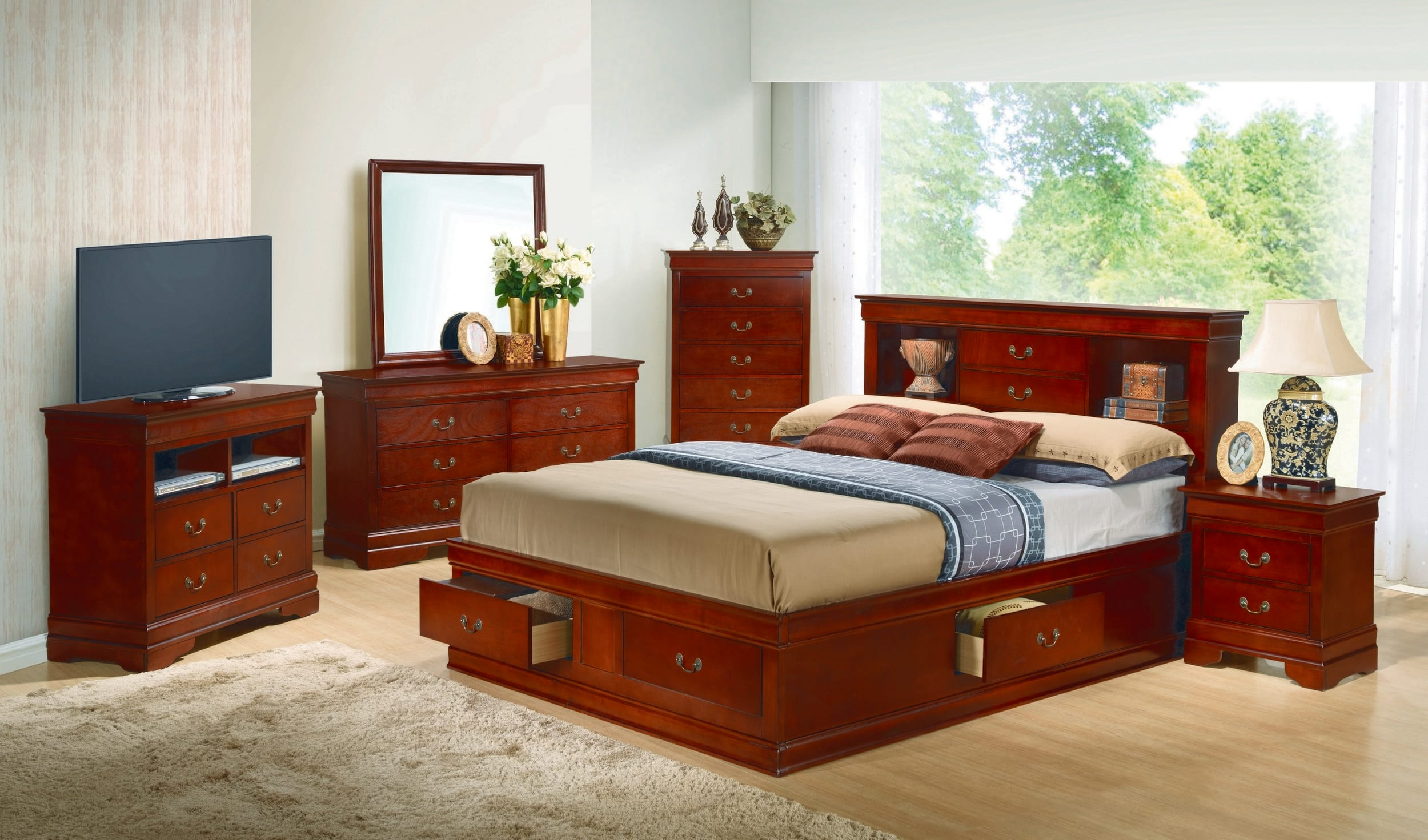 Glory Cherry King Storage 6-Piece Bedroom Set with Bookcase Headboard &  Reviews - Goedekers.com