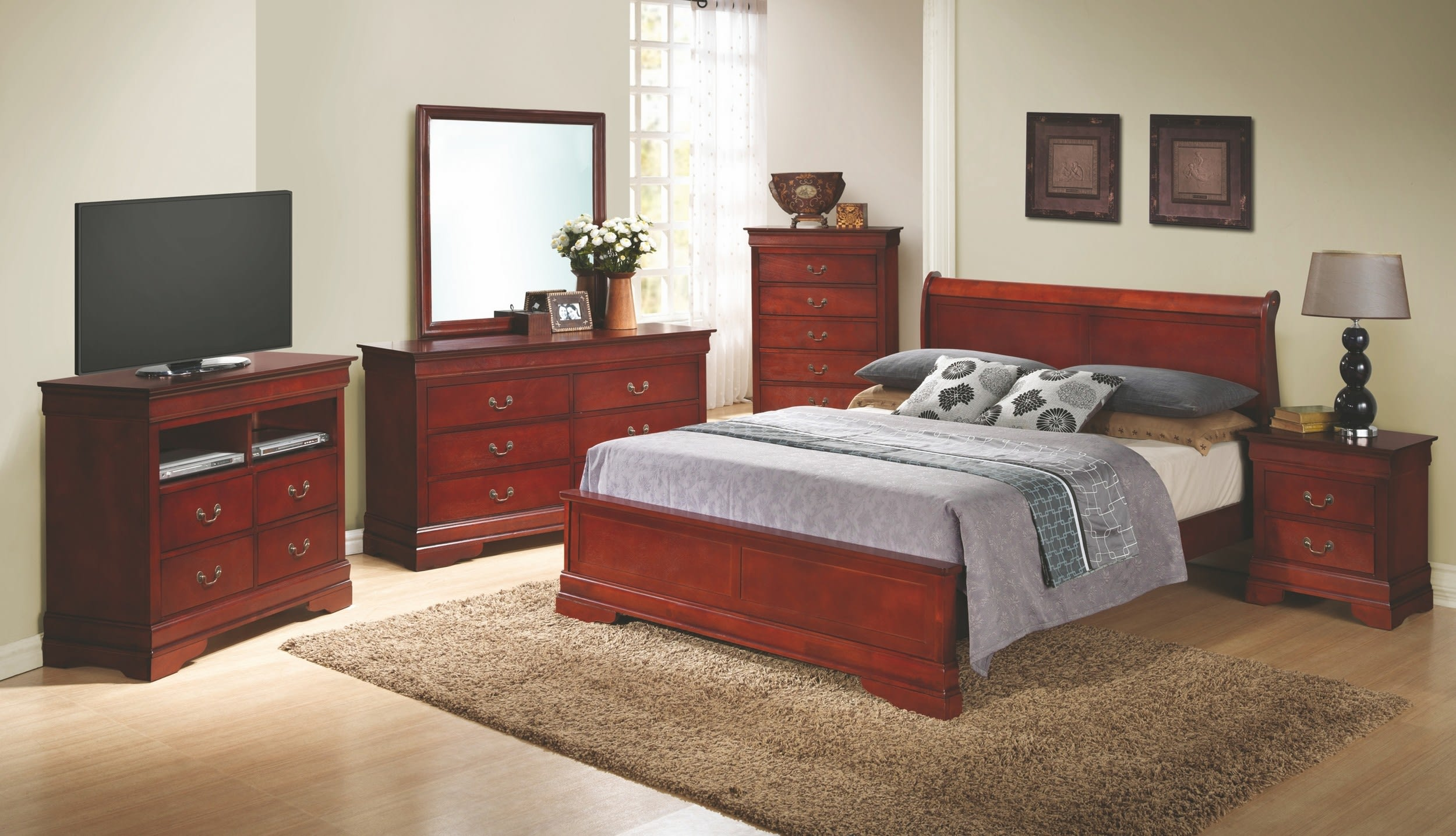 Glory Cherry Queen 6-Piece Bedroom Set with Sleigh Headboard & Reviews -  Goedekers.com