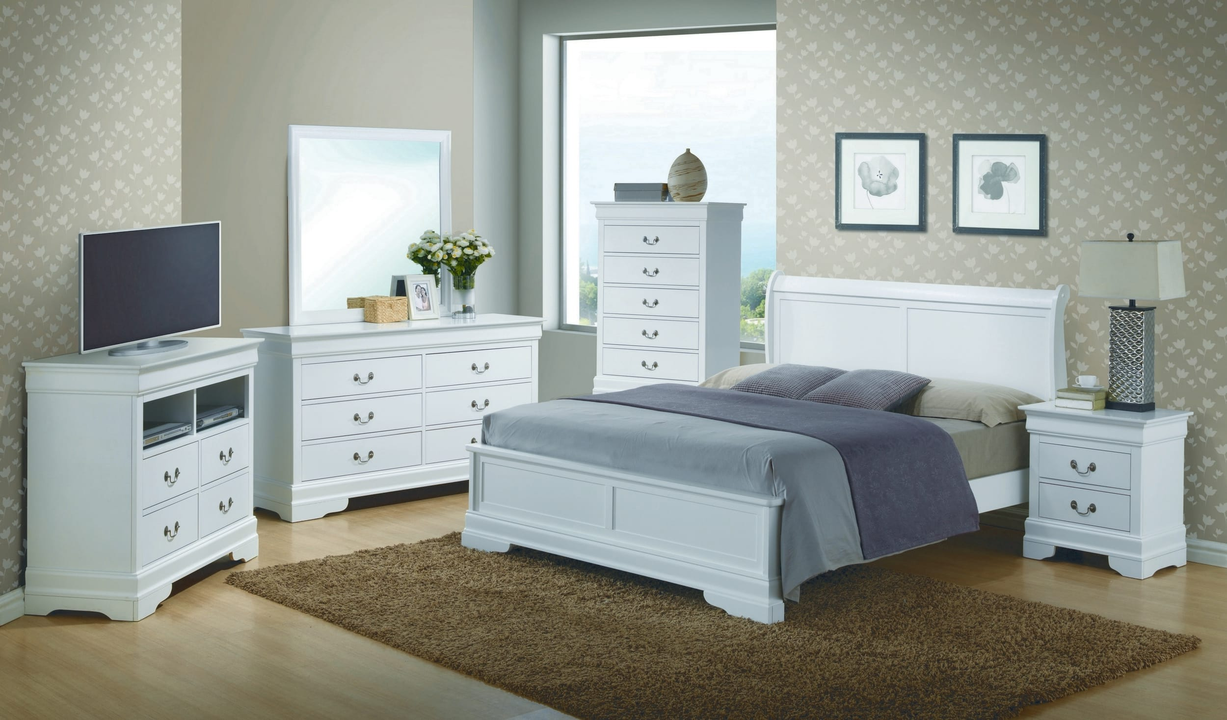 Glory White King 6-Piece Bedroom Set with Sleigh Headboard & Reviews -  Goedekers.com