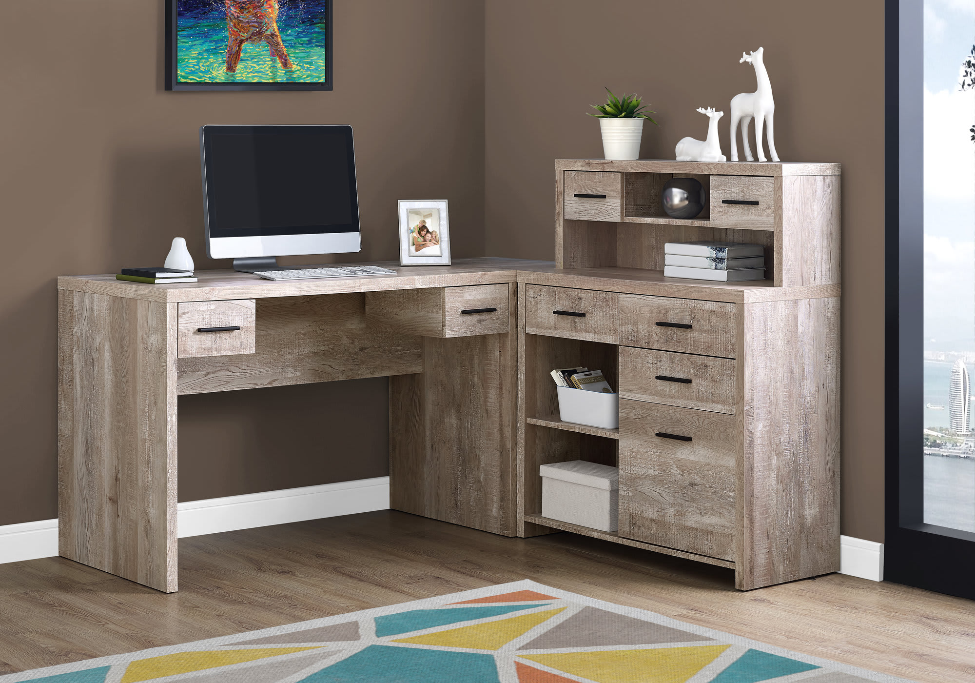 Taupe Wood Grain Left Right Facing Corner Computer Desk