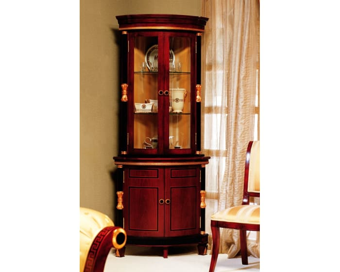 Gigasso Rosewood Corner Display Cabinet With Gold Accents