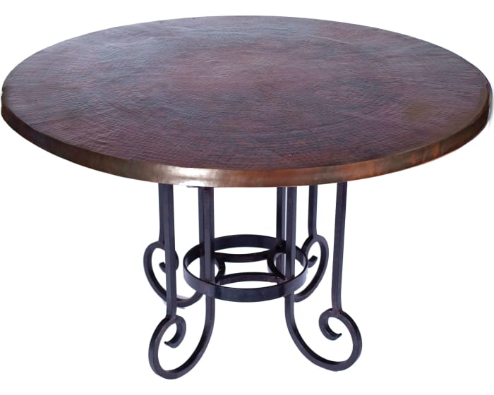 Prima Design Source Curled Leg Dark Brown Dining Table With 48 Round Hammered Copper Top Bfm5 F 518ad Goedekers Com