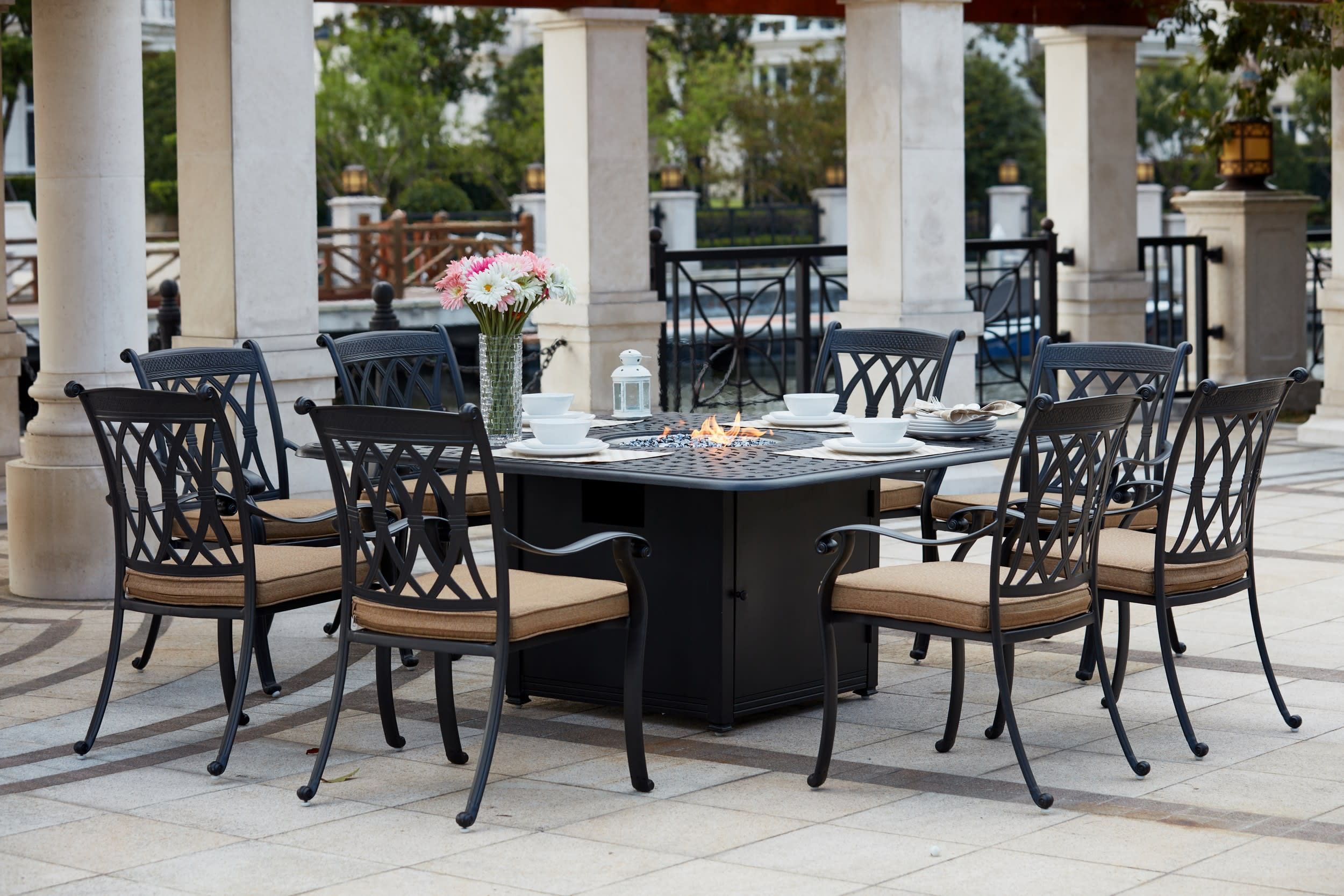 Picture of: Darlee Capri Cast Aluminum 9 Piece Dining Set With 64 Square Propane Fire Pit Dining Table G 201660 9pc 60gw Goedekers Com