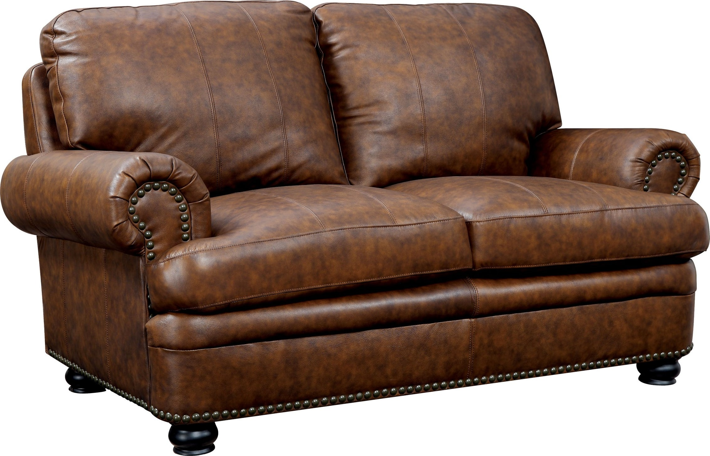 Furniture Of America Rheinhardt Dark Brown Leather Loveseat With 2 Pillows Idf 6318 Lv Goedekers Com