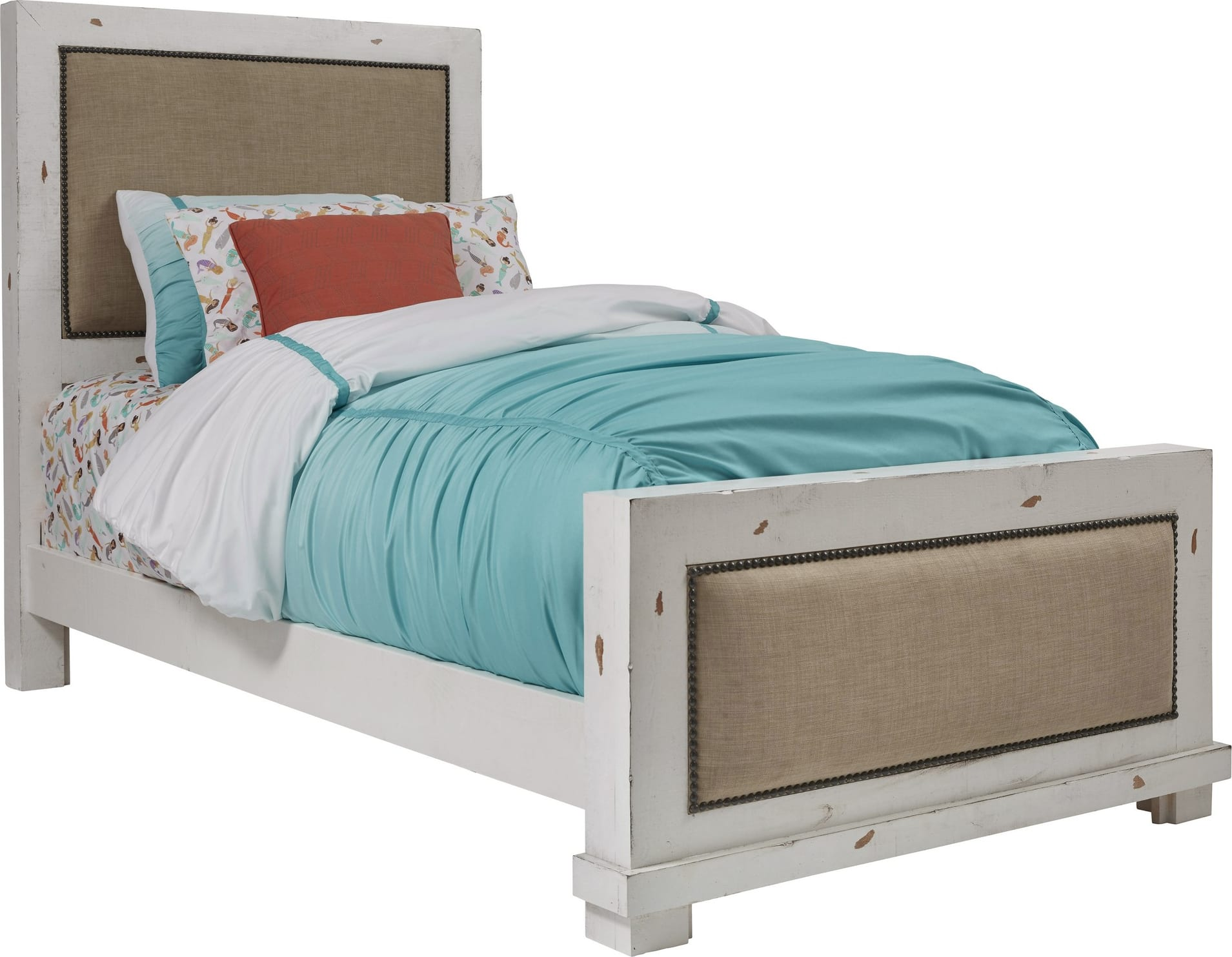 Progressive Willow Distressed White Complete Twin Upholstered Bed P610 25 26 27 Goedekers Com