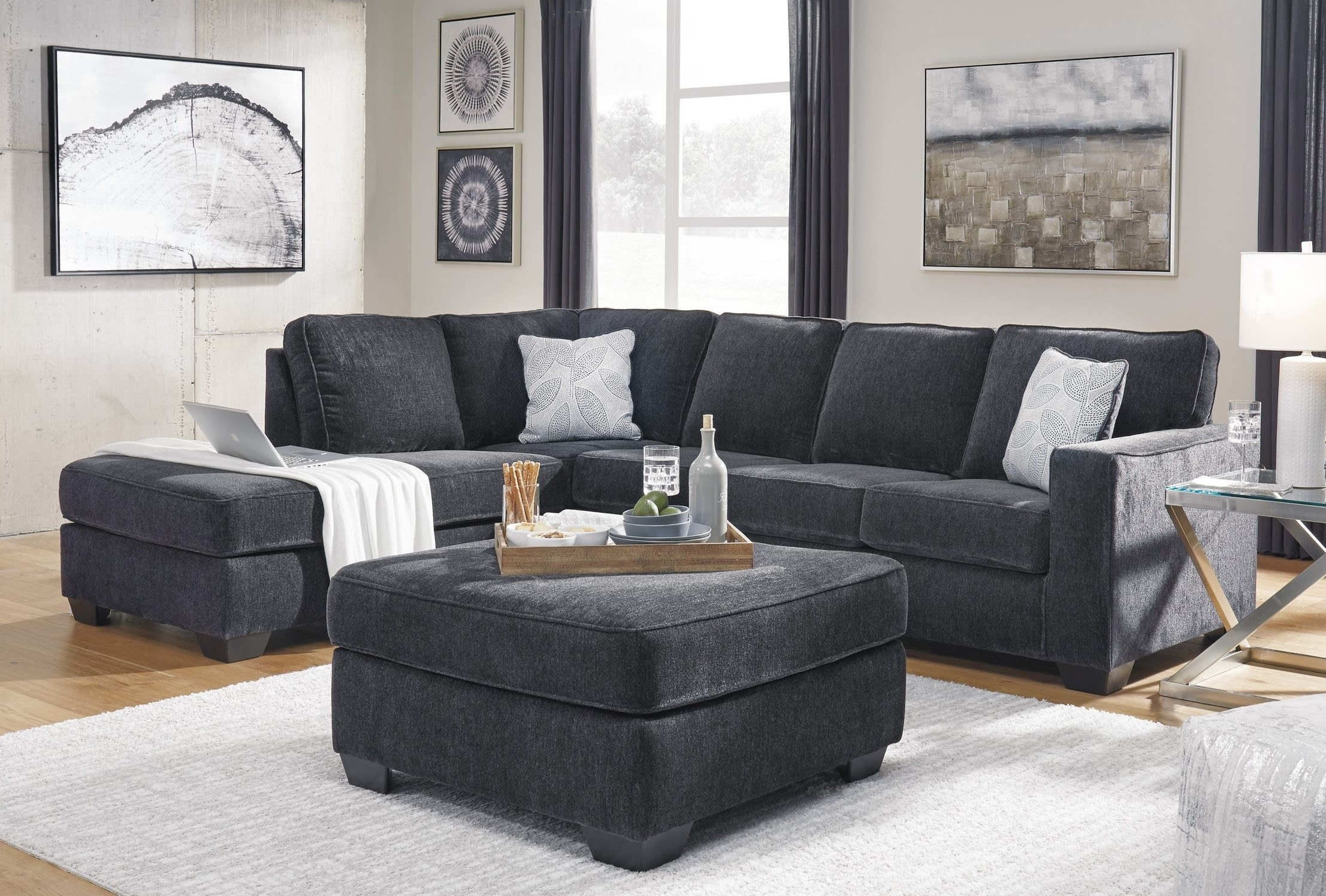 altari slate 3 piece left facing chaise sectional set