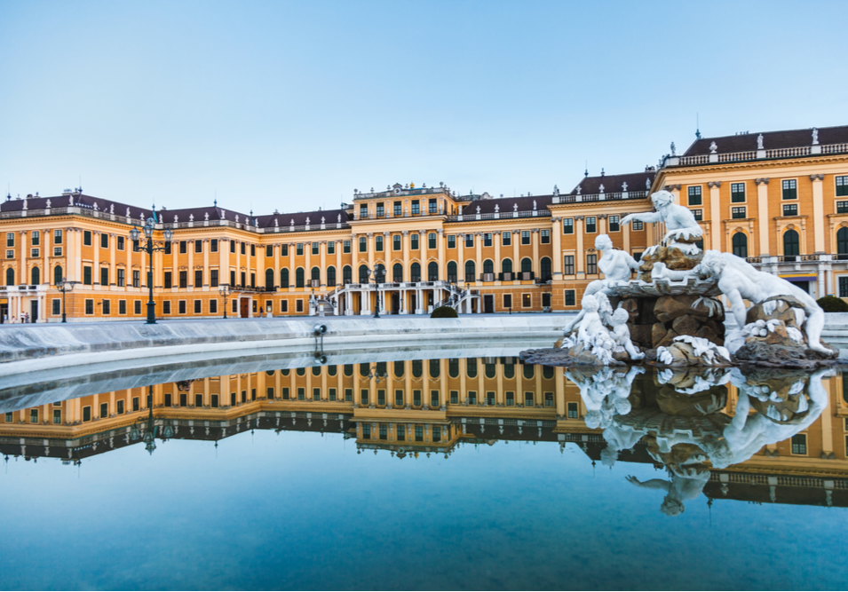 winter Schönbrunn Palace in Vienna austria
