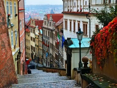 Cobblestone Steps and Colorful Buildings in Old Town Prague