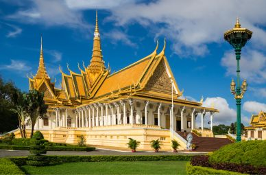 Yellow Royal Palace Temple in Phnom Penh