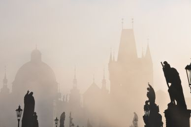 Foggy Morning at Charles Bridge in Prague Czech Republic