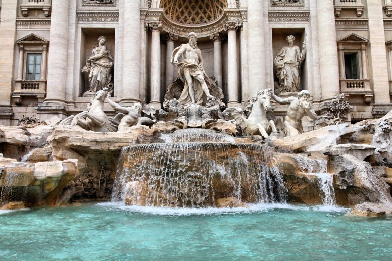 Closeup of the Trevi Fountain in Rome