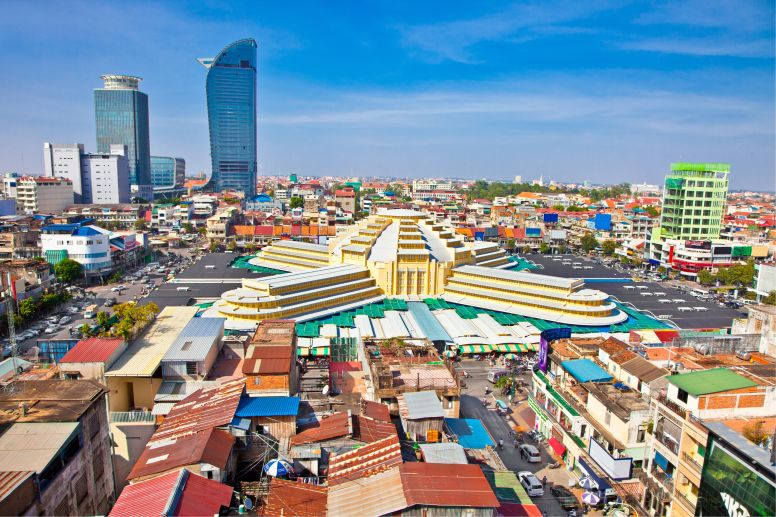 Aerial View of Phnom Penh with Building Skyline