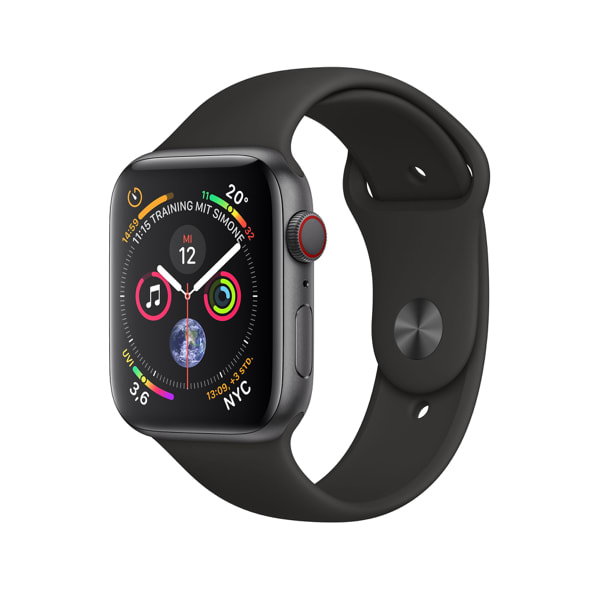Space Grey / Black Sport Band Apple Watch Series 4 GPS + Cellular, 44mm.2