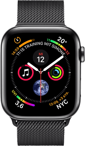 Milanese Black Apple Watch Series 4 GPS + Cellular, 40mm Stainless steel case, Milanaise Loop.1