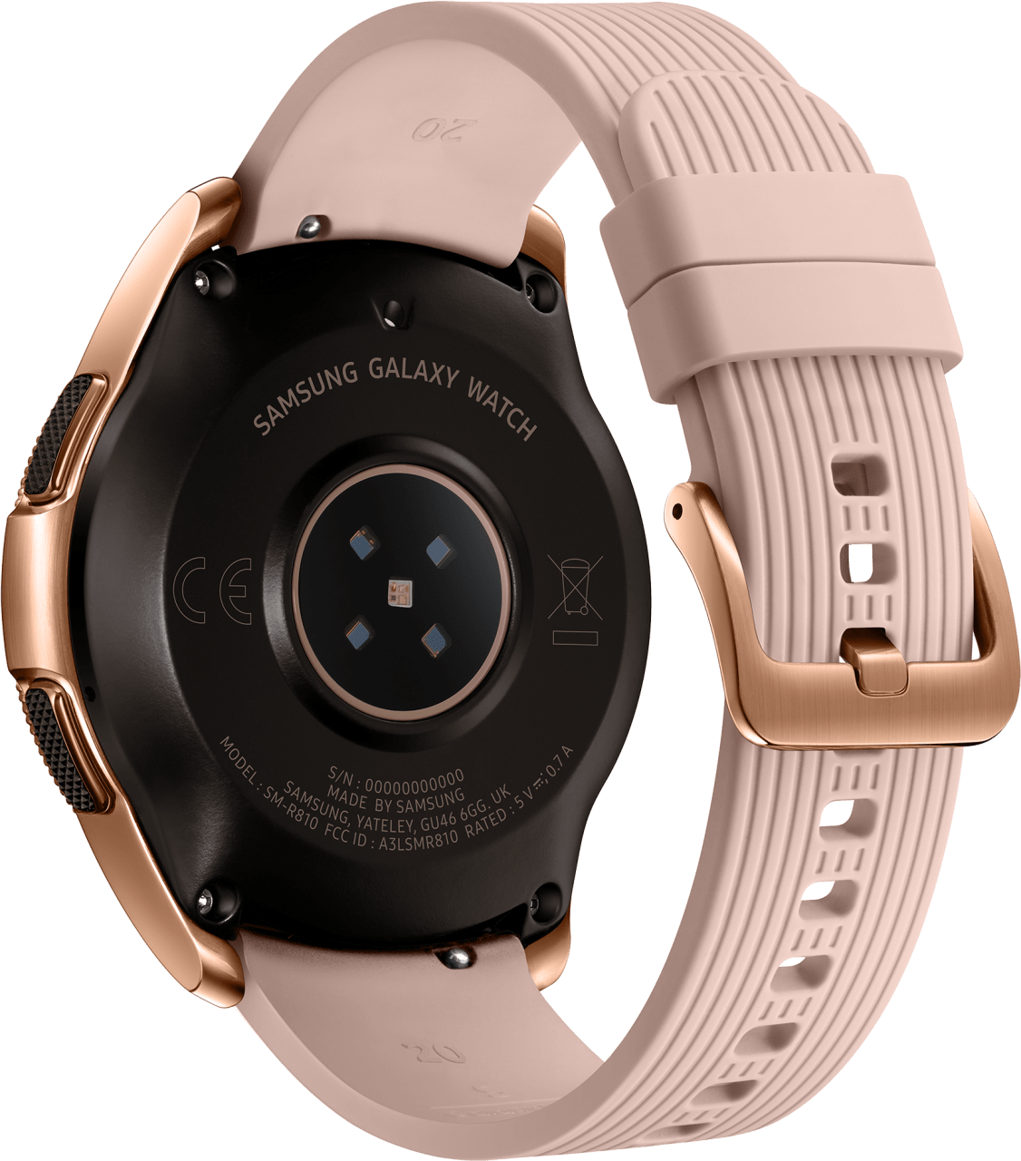 Rose Gold Samsung Galaxy Watch LTE, 42mm Stainless steel case, Silicone band.3