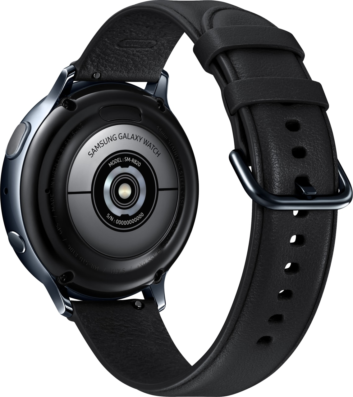 Black Samsung Galaxy Watch Active2, 44mm Stainless steel case, Leather band.3
