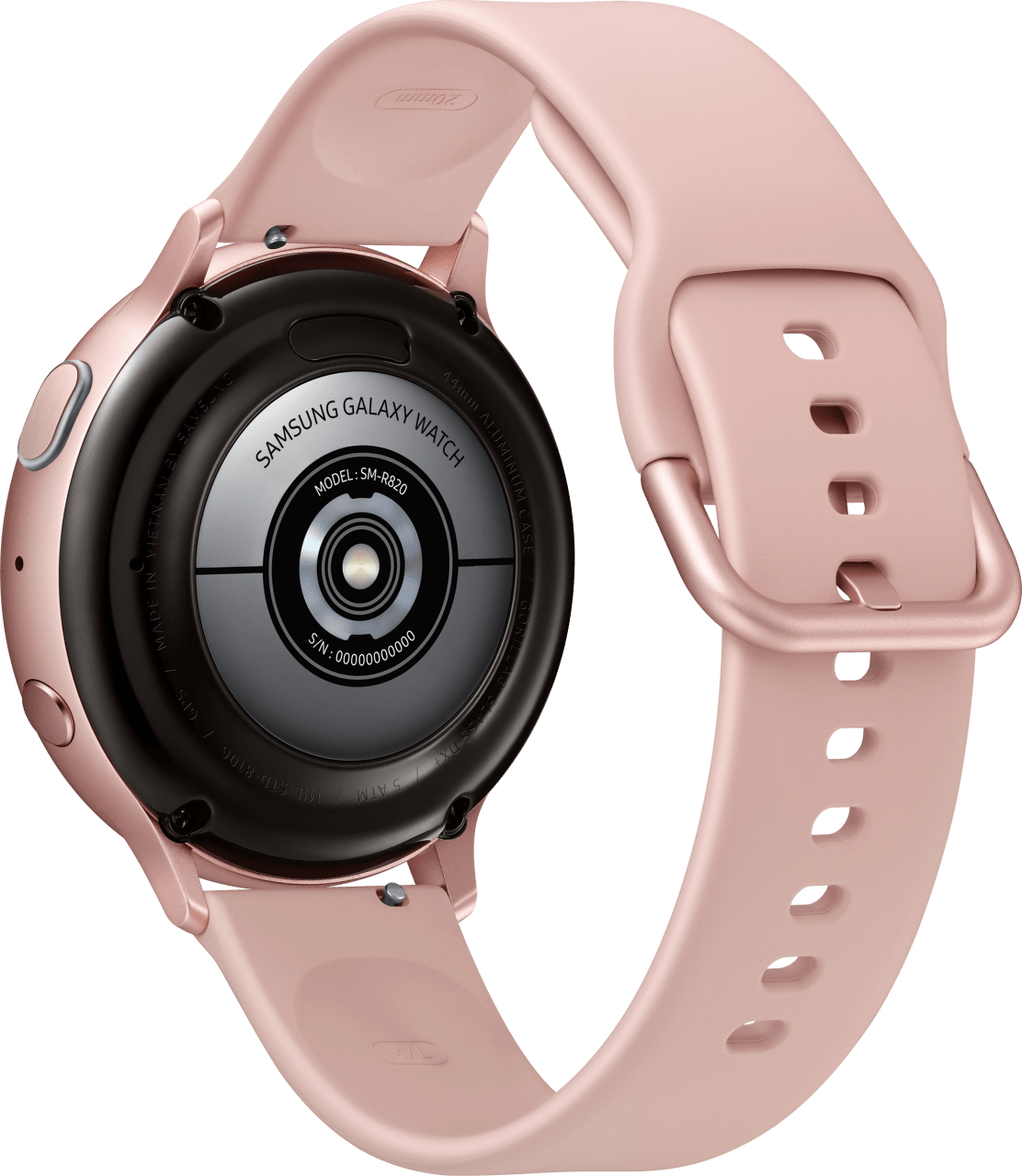 Pink Gold Samsung Galaxy Watch Active2, 44mm Aluminium case, Sport band.3