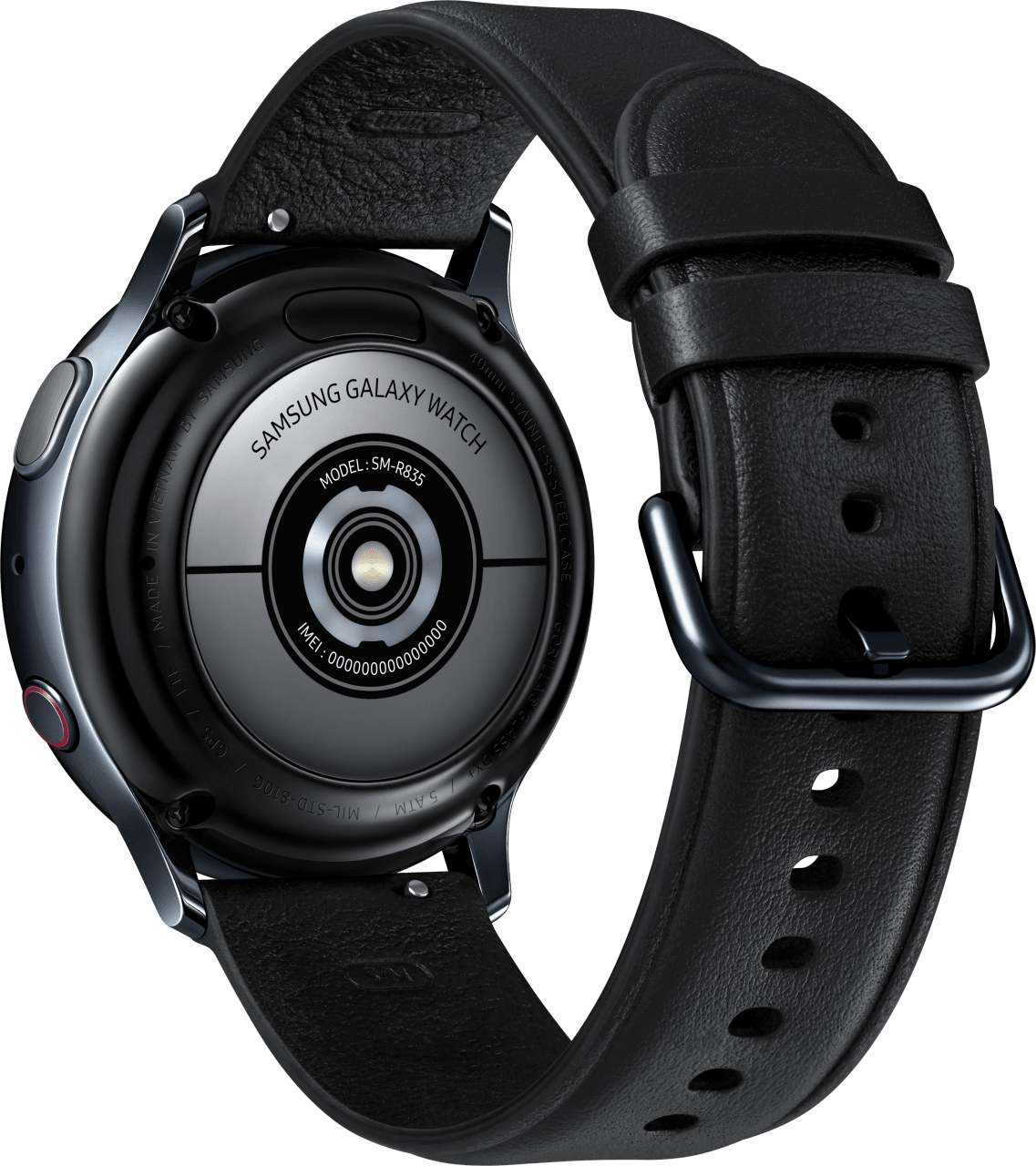 Black Samsung Galaxy Watch Active2 (LTE), 40mm Stainless steel case, Leather band.3