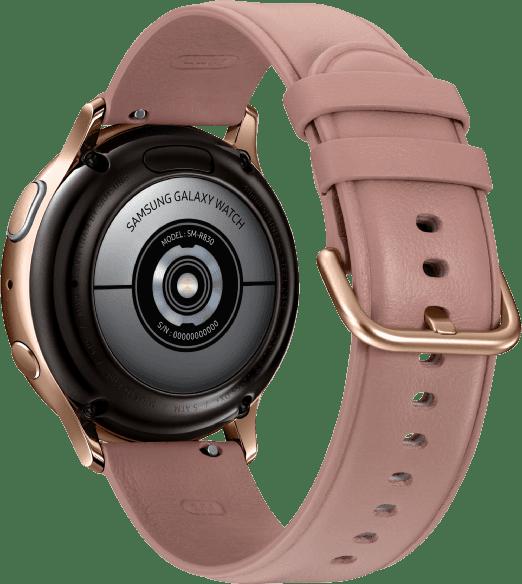 Gold Samsung Galaxy Watch Active2, 40-mm-Edelstahlgehäuse, Lederarmband.4