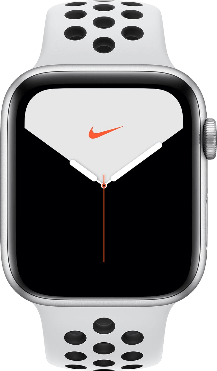 Reines Platin / Schwarz Apple Watch Nike Serie 5 GPS + Cellular, 44mm Aluminium-Gehäuse, Sportarmband.1
