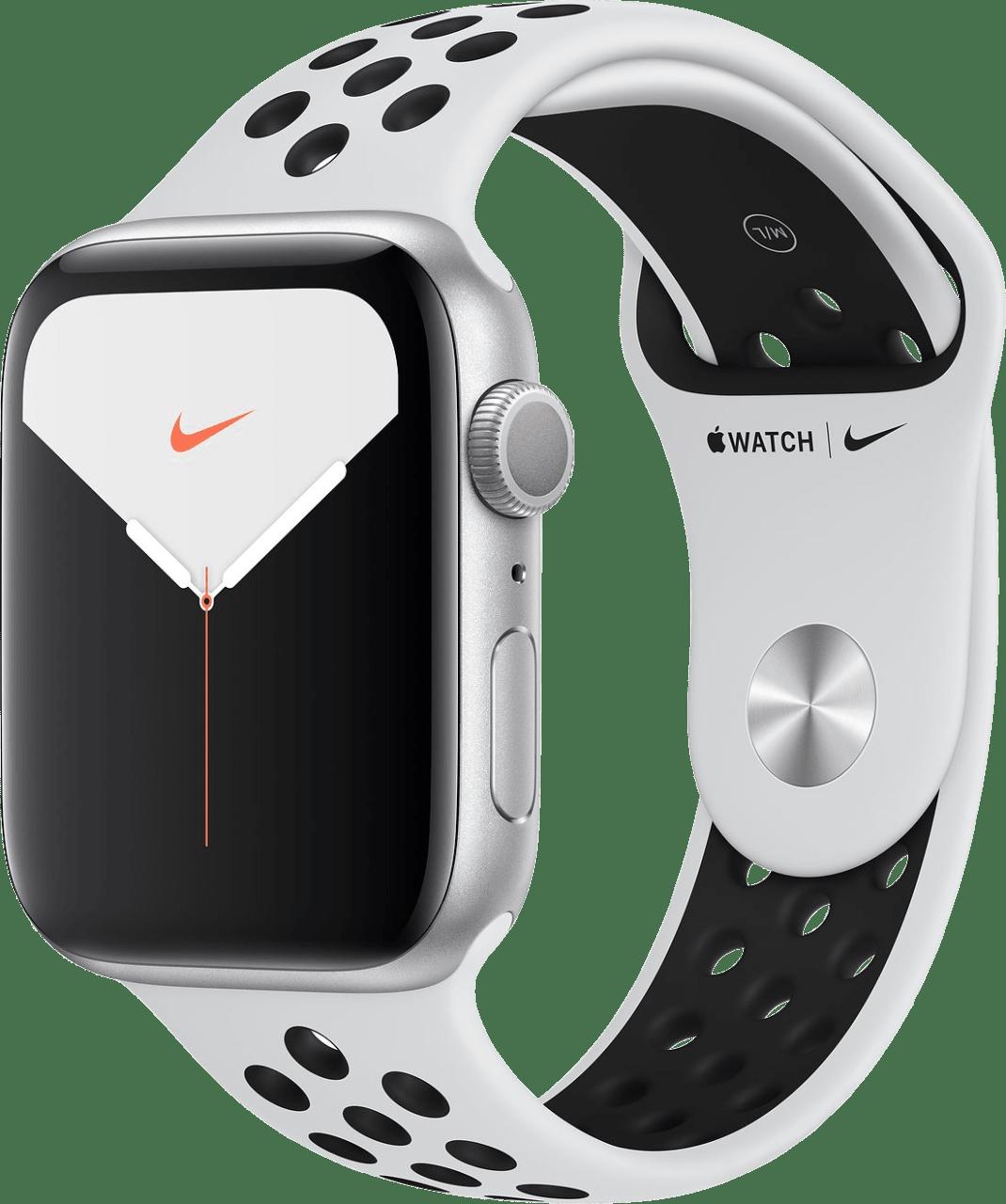Reines Platin / Schwarz Apple Watch Nike Serie 5 GPS + Cellular, 44mm Aluminium-Gehäuse, Sportarmband.2