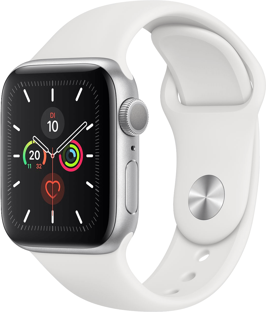 Weiß Apple Watch Series 5 GPS, 40 mm Aluminium-Gehäuse, Sportband.2
