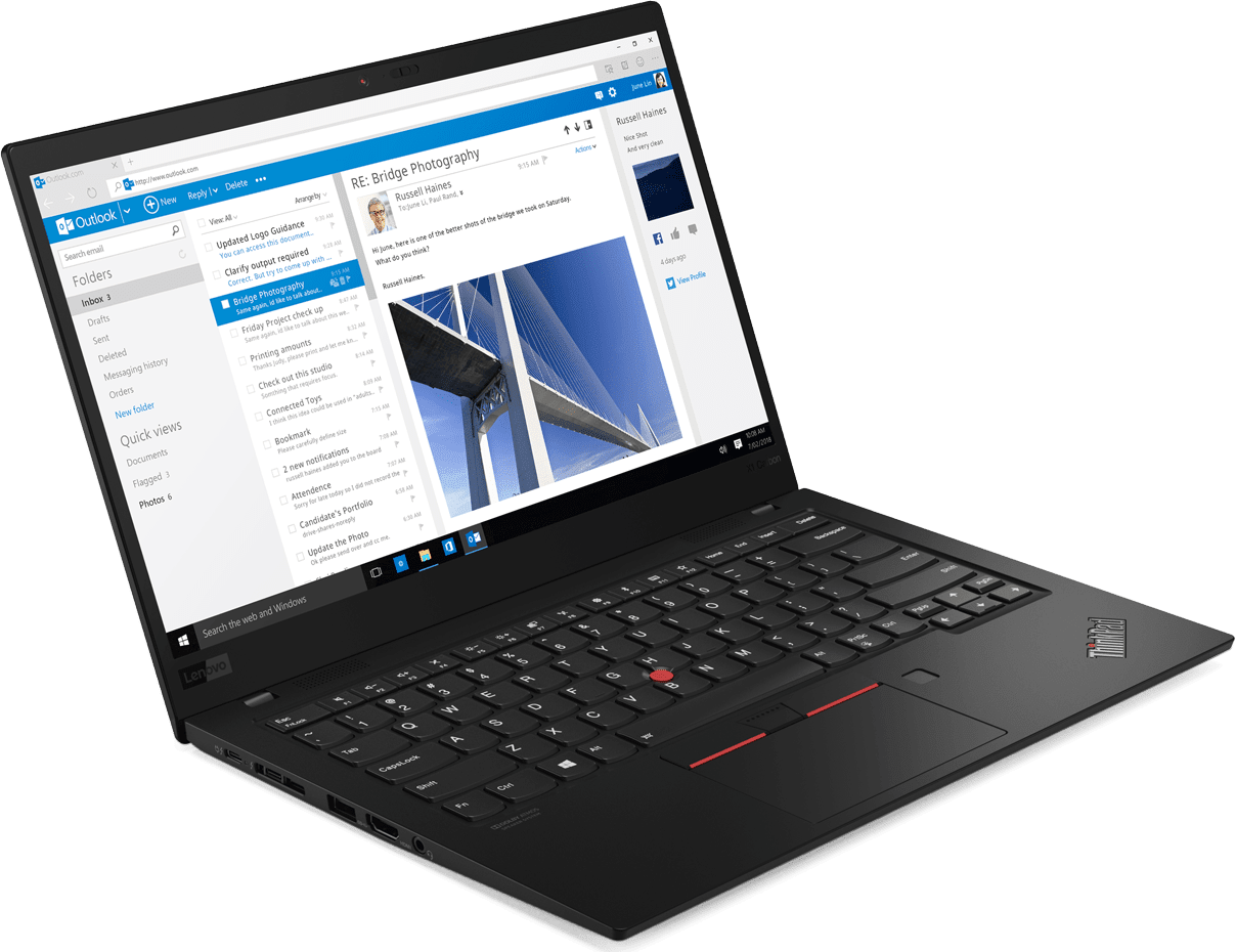 Black Lenovo ThinkPad X1 Carbon G7.4