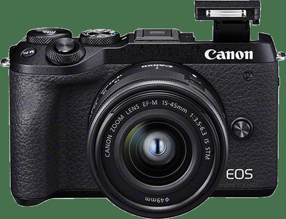 Black Canon EOS M6 Mark II + EF-M 15 - 45mm.4