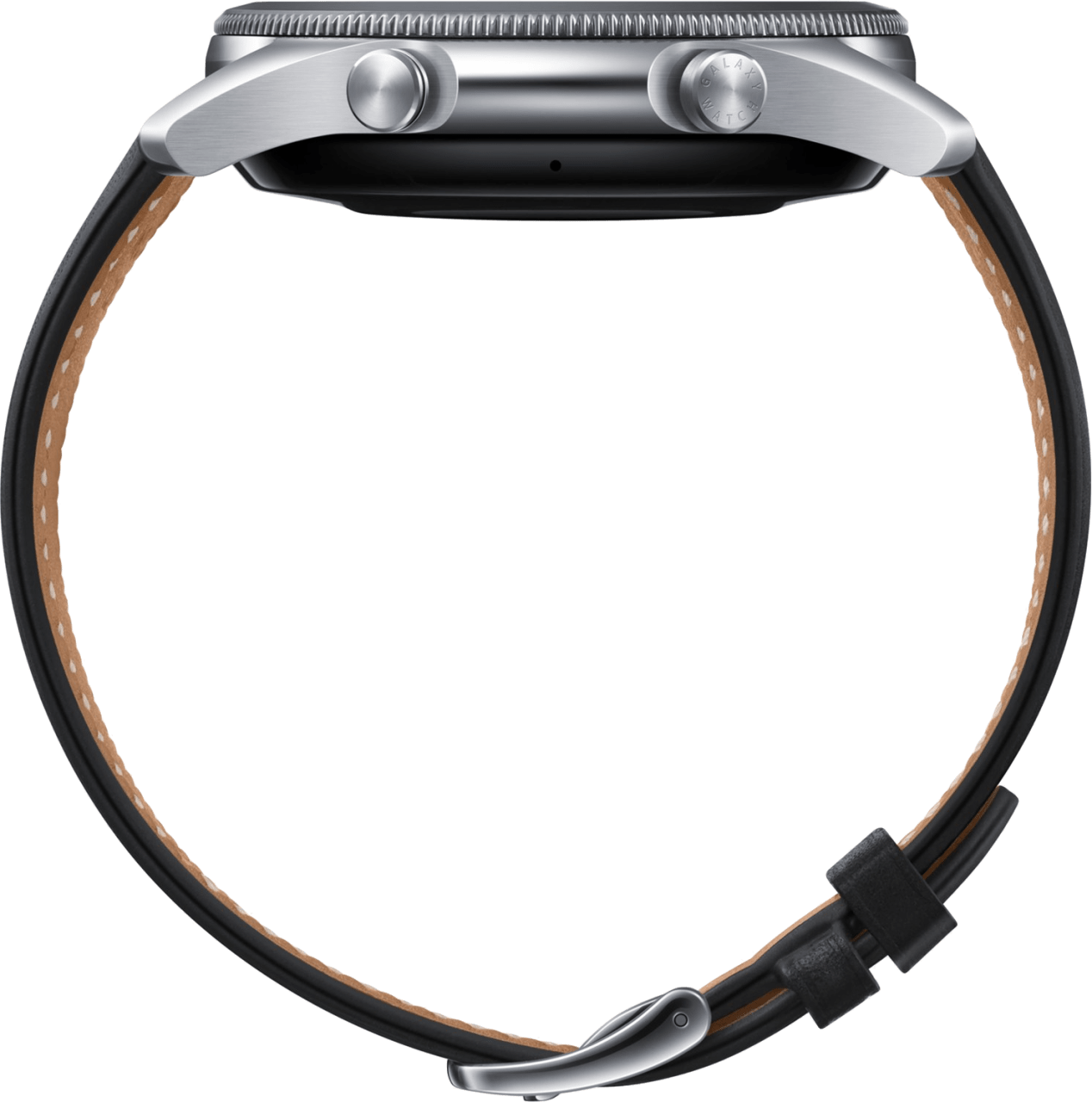 Mystic Zilver Samsung Galaxy Watch3, 45mm Stainless steel case, Real leather band.3
