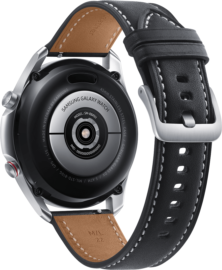 Mystic Silver Samsung Galaxy Watch 3 (LTE), 45mm Stainless steel case, Real leather band.3