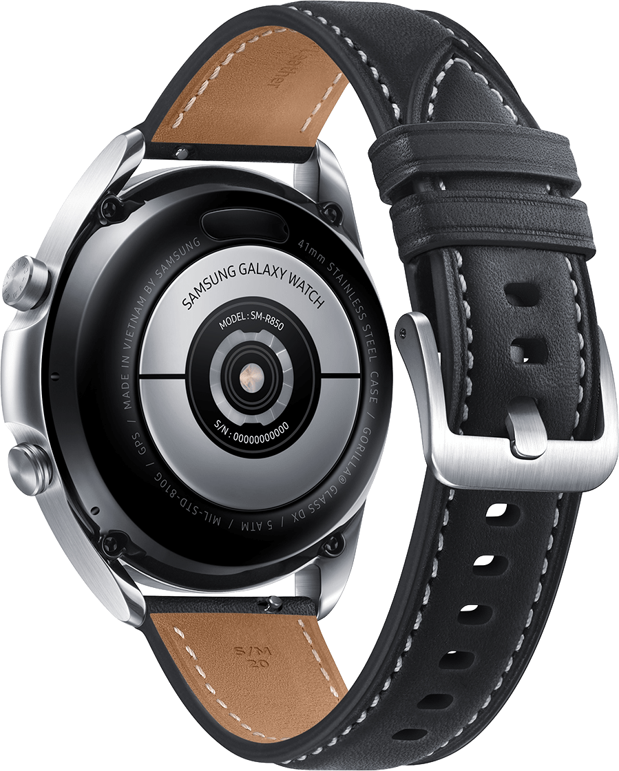 Mystic Silver Samsung Galaxy Watch 3, 41mm Stainless steel case, Real leather band.3