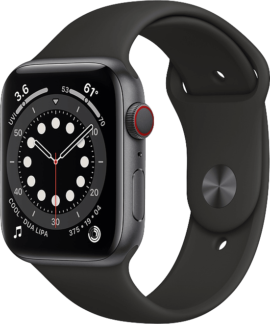 Black Apple Watch Series 6 GPS + Cellular , 44mm Aluminium case, Sport band.1