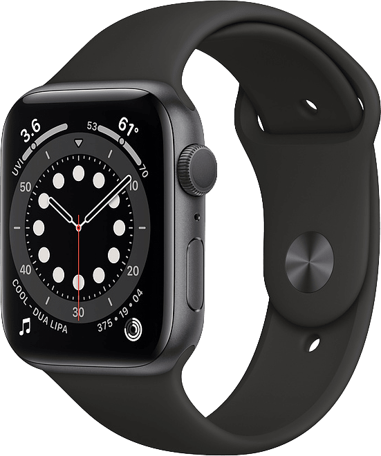 Black Apple Watch Series 6 GPS, 44mm Aluminium case, Sport band.1