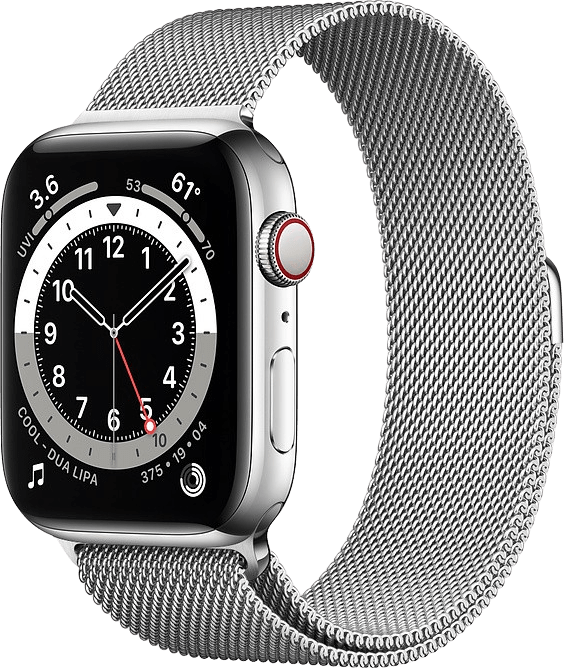 Silver Apple Watch Series 6 GPS + Cellular , 40mm Stainless steel case, Milanaise Loop.1
