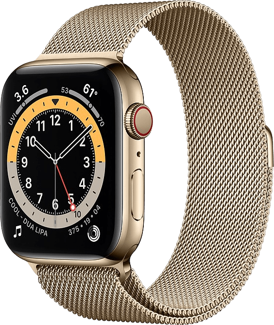 Gold Apple Watch Series 6 GPS + Cellular , 44mm Stainless steel case, Milanaise Loop.1
