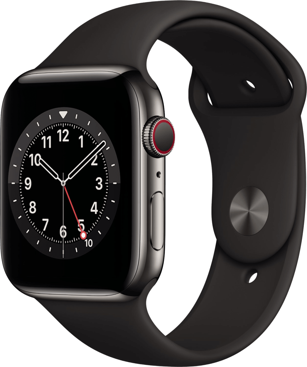 Black Apple Watch Series 6 GPS + Cellular , 44mm Stainless steel case, Sport band.1