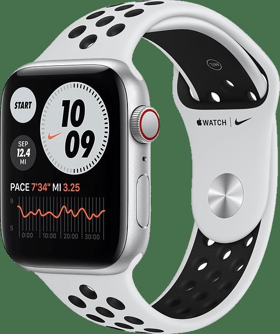 Platin / Schwarz Apple Watch Nike SE GPS + Cellular, 44 mm Aluminium-Gehäuse, Sportarmband.1
