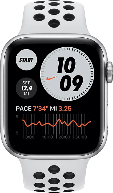 Platinum/black Apple Watch Nike Series 6 GPS + Cellular , 40mm Aluminium case, Sport band.2