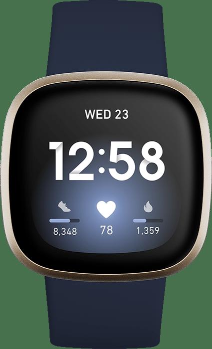 Midnight & Soft gold Fitbit Versa 3 Smartwatch.4