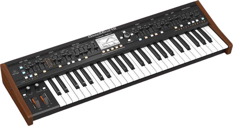 Black Behringer Deepmind 12 voice analog synthesizer.2