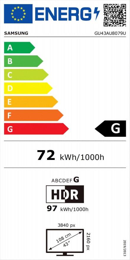 "Black Samsung TV 43"" GU43AU8079UXZG LED UHD 4K.2"