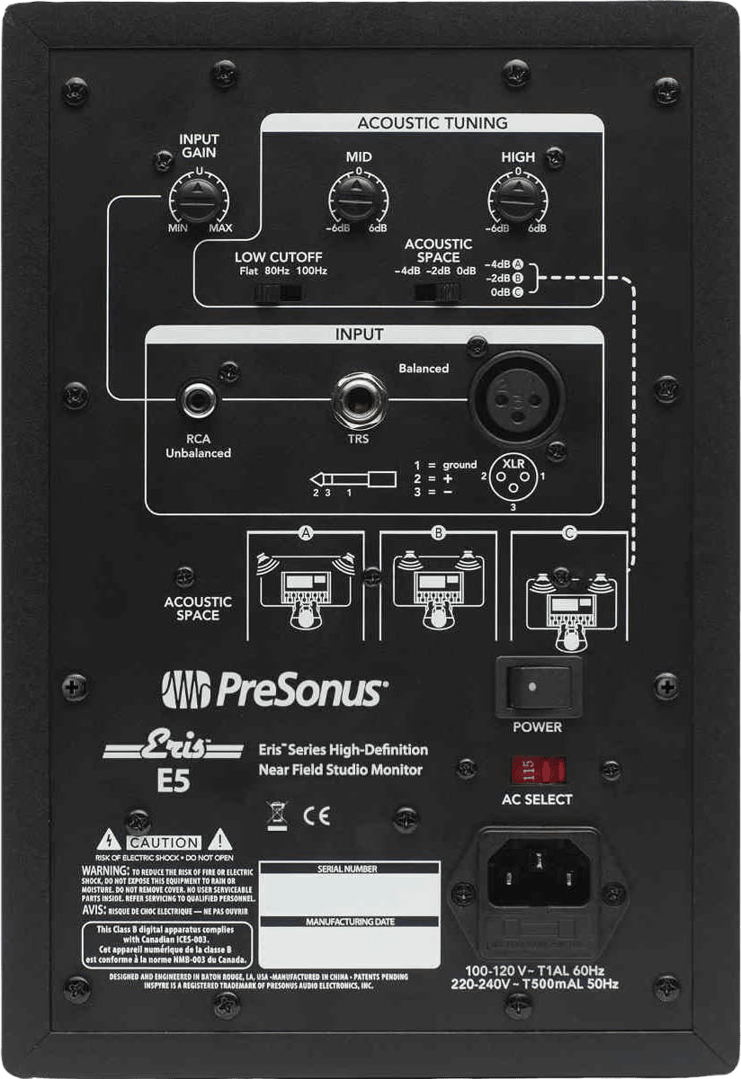 Schwarz PreSonus Eris E5 (Paar) Aktiver Studio-Monitor.3