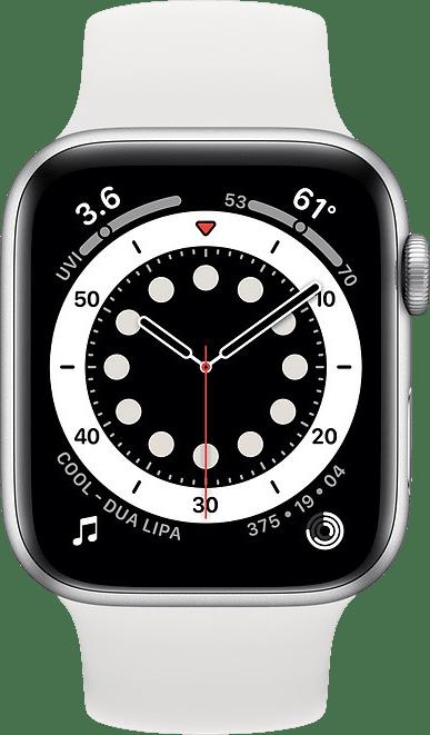 White Apple Watch Series 6 GPS, 44mm Aluminium case, Sport band.2