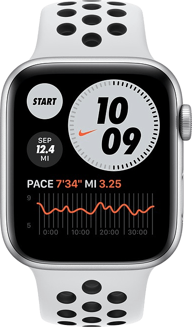 Platinum/black Apple Watch Nike SE GPS, 44mm Aluminium case, Sport band.2