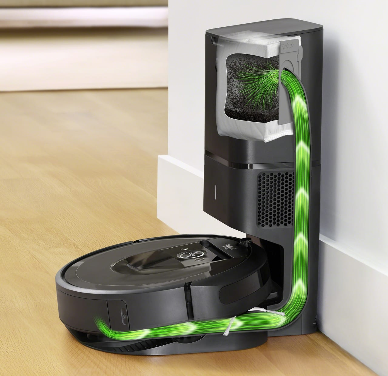 Black iRobot Roomba i7+ Vacuum Cleaner Robot with Dirt Disposal Station.4