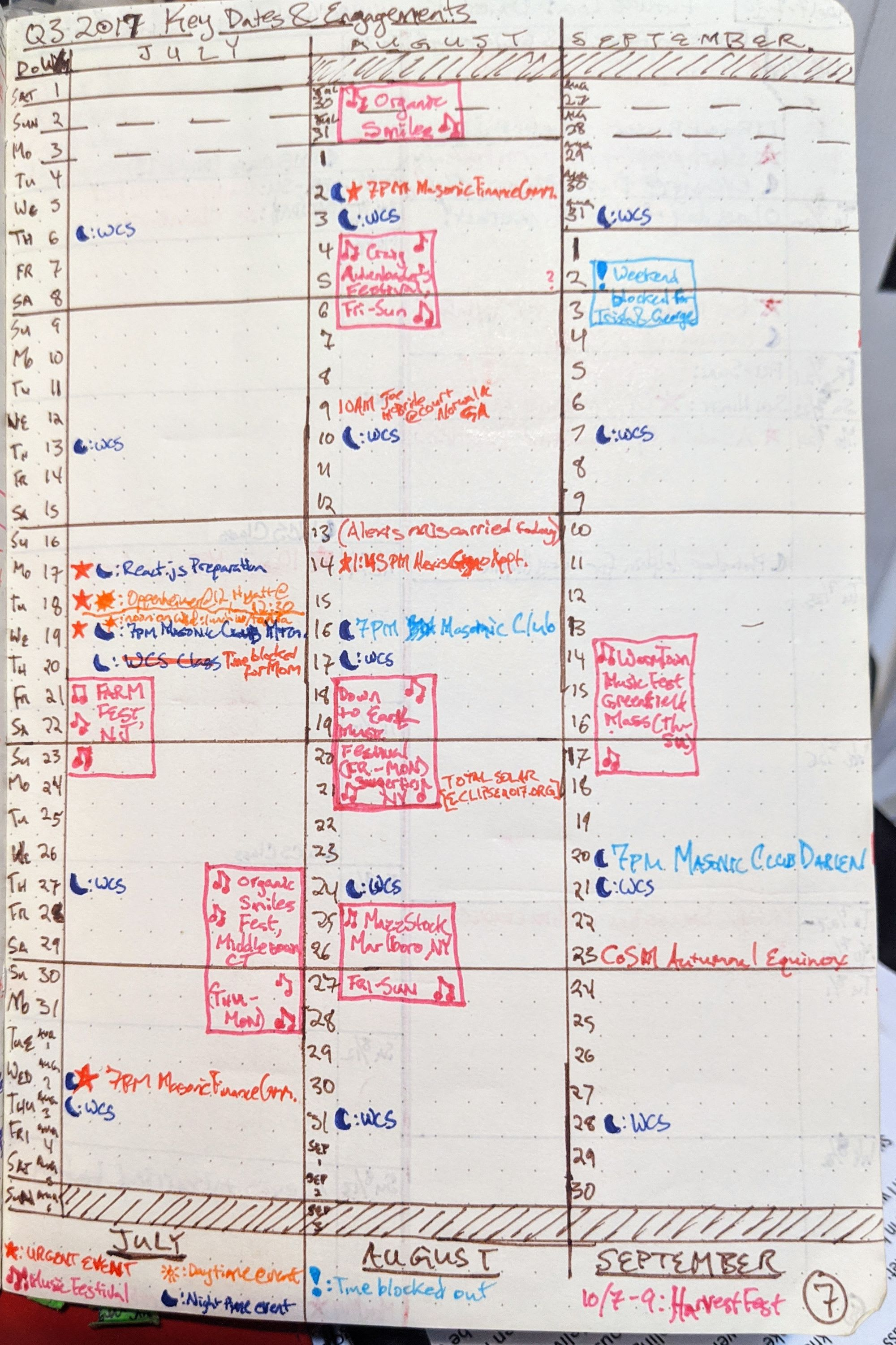 A calendar I drew out to track my important events in the third quarter of 2017.