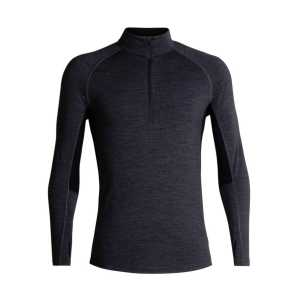 Icebreaker BodyFitZone 200 Long Sleeve Half Zip - Jet Heather/Black/Mineral