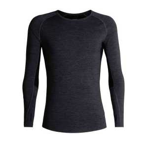 Icebreaker BodyFitZone 200 Zone Long Sleeve Crewe - Jet Heather/Black/Mineral