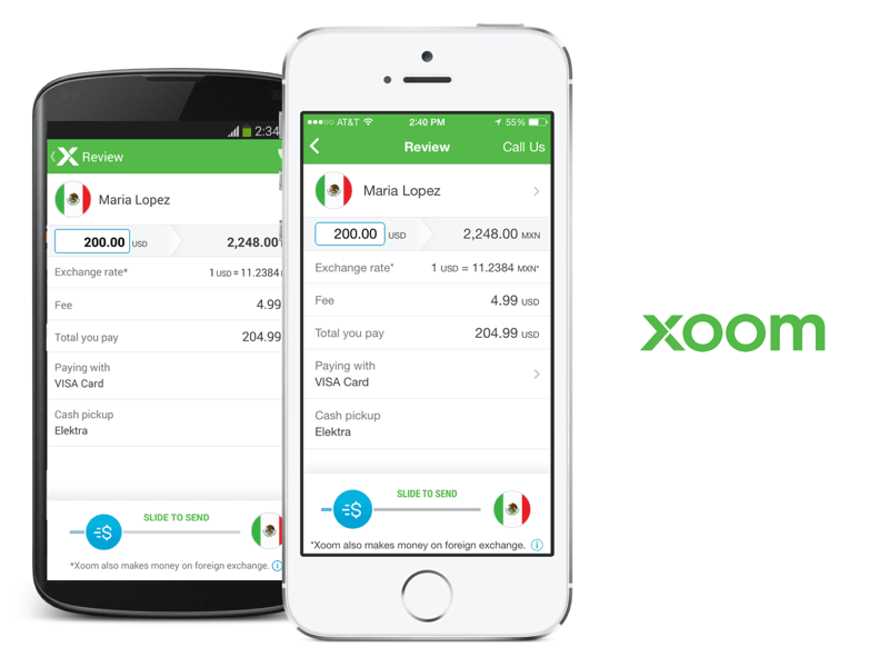 Xoom iOS and Android apps