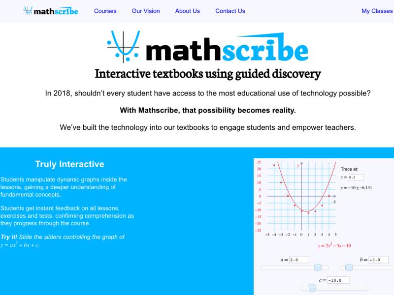 Mathscribe Website Update